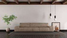 Salone con il sofà di cuoio Immagine Stock Libera da Diritti