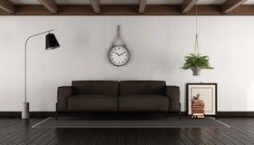 Salone con il sofà marrone Fotografia Stock