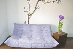 Salone con il sofà viola e l'orchidea blu Fotografie Stock