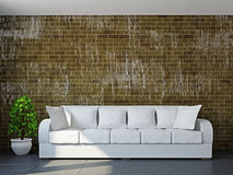 Salone con il sofà e una pianta Immagini Stock Libere da Diritti