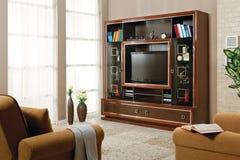 Salone con il supporto della TV fotografia stock libera da diritti