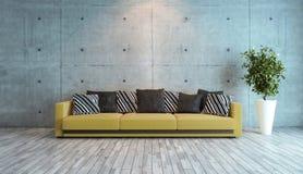 Salone con l'idea di interior design del muro di cemento Fotografie Stock