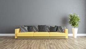 Salone con l'idea grigia di interior design della parete Immagine Stock