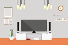 Salone con l'insieme della casa di progettazione moderna della TV Fotografia Stock Libera da Diritti