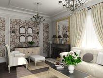 Salone con la mobilia classica illustrazione di stock