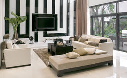 Salone con la mobilia moderna Immagini Stock Libere da Diritti