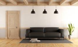 Salone con la porta ed il sofà di legno illustrazione vettoriale