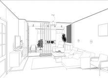 Salone con la vista del paesaggio, interno 3D Immagine Stock