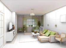 Salone con la vista del paesaggio, interno 3D Fotografie Stock Libere da Diritti