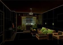 Salone con la vista del paesaggio, interno 3D Fotografia Stock