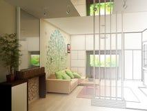 Salone con la vista del paesaggio, interno 3D Fotografie Stock