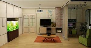 Salone con la vista del paesaggio, interno 3D Immagine Stock Libera da Diritti