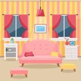 Salone con mobilia Interiore accogliente Vettore piano di stile Immagine Stock Libera da Diritti