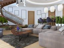 Salone con un grande sofà d'angolo da un tessuto in un Contempo Immagine Stock