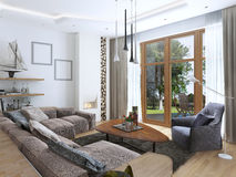 Salone con un grande sofà d'angolo da un tessuto in un Contempo Fotografia Stock