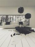 Salone contemporaneo con il sofà in bianco e nero Immagine Stock Libera da Diritti