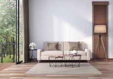 Salone contemporaneo con la vista tropicale 3d del giardino rendere illustrazione vettoriale