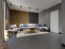 Salone contemporaneo minimalista con i sofà nello stile del sottotetto pianamente illustrazione vettoriale