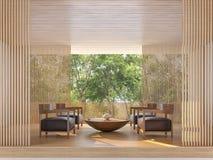 Salone contemporaneo moderno con l'immagine della rappresentazione di vista 3d della natura royalty illustrazione gratis