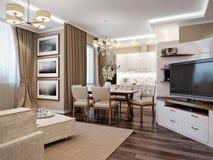 Vita E Sala Da Pranzo Moderne Con La Cucina Illustrazione di Stock ...