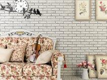 Salone d'annata bianco di stile con la decorazione Fotografia Stock Libera da Diritti