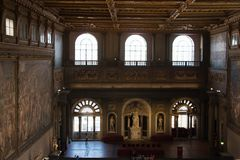 The Salone dei Cinquecento at Palazzo Vecchio, Florence, Italy. Stock Photography
