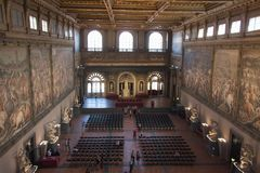 The Salone dei Cinquecento at Palazzo Vecchio, Florence, Italy. royalty free stock photos