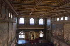 The Salone dei Cinquecento at Palazzo Vecchio, Florence, Italy. stock photo