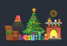 Salone del fumetto con l'albero ed il camino di natale Concetto piano di vettore di festa di Natale Fotografia Stock Libera da Diritti