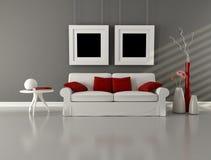 Salone del minimalist di colore rosso e di bianco grigio illustrazione di stock