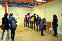 Salone del Mobile. Milan, Italy - 9 April 2013 : Interior design solution at Salone del Mobile, international furnishing accessories exhibition in Milan Stock Image