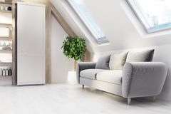 Salone della soffitta, sofà grigio, lato illustrazione di stock