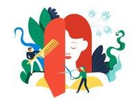 Salone della stazione termale, processo di hairstyling, cambiamento del taglio di capelli della donna royalty illustrazione gratis