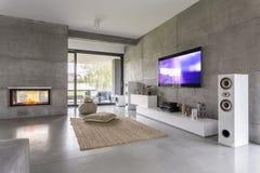 Salone della TV con la finestra Immagini Stock