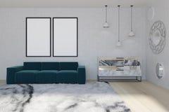 Salone dello specchio, sofà blu Immagine Stock