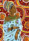 Salone di bellezza: Donna abbastanza giovane dell'afroamericano con bei capelli lunghi Illustrazione di vettore Fotografie Stock Libere da Diritti