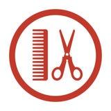Salone di capelli con le forbici e l'icona del pettine royalty illustrazione gratis