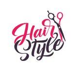 Salone di capelli Logo Beauty Vector Lettering Calligrafia fatta a mano su ordinazione illustation di vettore Immagine Stock