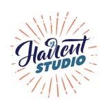 Salone di capelli Logo Beauty Vector Lettering Calligrafia fatta a mano su ordinazione illustation di vettore Immagine Stock Libera da Diritti