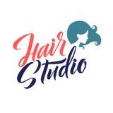 Salone di capelli Logo Beauty Vector Lettering Calligrafia fatta a mano su ordinazione illustation di vettore Fotografia Stock