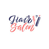 Salone di capelli Logo Beauty Vector Lettering Calligrafia fatta a mano su ordinazione illustation di vettore Fotografie Stock Libere da Diritti