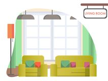 Salone di immagine a casa Interiore domestico accogliente illustrazione vettoriale
