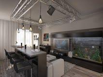 Salone di interior design con la cucina Fotografie Stock Libere da Diritti
