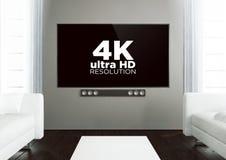 salone di legno con 4k alla TV astuta Fotografia Stock