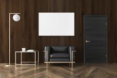 Salone di legno scuro, poltrona, manifesto Immagine Stock