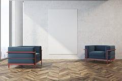 Salone di Minimalistic, poltrone blu, manifesto Fotografia Stock Libera da Diritti