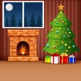 Salone di Natale con l'albero, i presente ed il camino di natale Fotografia Stock Libera da Diritti