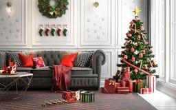 Salone di Natale con un albero di Natale ed i presente sotto i Immagini Stock Libere da Diritti