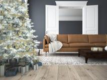 Salone di Natale rappresentazione 3d Fotografia Stock