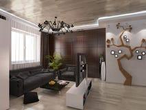 Salone di progettazione con i colori caldi Immagine Stock